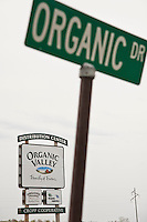 An Organic Valley distribution center sign is seen along Organic Drive in southwestern Wisconsin.