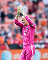 Jimmy Nielsen (1) of Sporting Kansas City salutes the crowd after half-time during a Major League Soccer match at RFK Stadium in Washington, DC.  D.C. United tied Sporting Kansas City, 1-1.