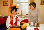 British musician Martin Degville of Sigue Sigue Sputnik  with a landlady during their English tour.