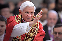 Pope Benedict XVI leads a ceremony to appoint six new cardinals at St Peter's basilica at the Vatican.November 24, 2012