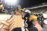 PITTSBURGH, PA - JANUARY 23: Hines Ward #86 of the Pittsburgh Steelers celebrates with the fans after defeating the against the New York Jets in the AFC Championship Playoff Game at Heinz Field on January 23, 2011 in Pittsburgh, Pennsylvania(Photo by: Rob Tringali) *** Local Caption *** Hines Ward