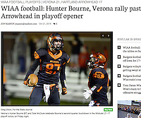 Verona's Hunter Bourne (L) and Tyler McClure celebrate Bourne's second quarter touchdown, as Verona tops Arrowhead 21-17 to advance in Wisconsin WIAA Division 1 playoffs on Friday at Verona High School | Wisconsin State Journal article front page Sports 10/22/16 and on-line at http://host.madison.com/wsj/sports/high-school/football/wiaa-football-hunter-bourne-verona-rally-past-arrowhead-in-playoff/article_fb744ec5-52d4-5455-b30f-ccd11a3eaac3.html