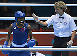 Nicola Adams of Great Britain (Blue) in action against Cancan Ren of China, to which Adams went on to take Gold by winning the bout 16 point to 7 <br /> <br /> 2012 London Olympics Day 13 - Thursday 9th August 2012 - Boxing - ExCel Arena - London<br /> <br /> &copy; CameraSport - 43 Linden Ave. Countesthorpe. Leicester. England. LE8 5PG - Tel: +44 (0) 116 277 4147 - admin@camerasport.com - www.camerasport.com
