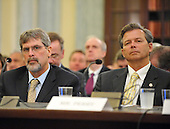 Washington, D.C. - May 5, 2009 -- Captain Richard Phillips of the MV Maersk/Alabama, left and Michael A. Perry, Chief Engineer, MV Maersk/Alabama, right, testify during the United States Senate Committee on Commerce, Science, and Transportation conducts a subcommittee hearing on Piracy on the High Seas: Protecting our Ships, Crews, and Passengers in Washington, D.C. on Tuesday, May 5, 2009. .Credit: Ron Sachs / CNP.(RESTRICTION: NO New York or New Jersey Newspapers or newspapers within a 75 mile radius of New York City)