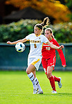 14 October 2010: University of Vermont Catamount forward/defender Haley Marks, a Freshman from Penfield, NY, in action against the University of Hartford Hawks at Centennial Field in Burlington, Vermont. The Hawks defeated the Lady Cats 6-2 in America East play. Mandatory Credit: Ed Wolfstein Photo