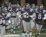 Ole Miss' Zach Brent (61) runs onto the field vs. Louisiana-Lafayette in Oxford, Miss. on Saturday, November 6, 2010. Ole Miss won 43-21.