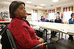 TORRINGTON CT. 25 April 2017-042517SV03-Joan Cain of Waterbury plays Jeopardy at the Willow/Plaza NRZ Community Center in Waterbury Tuesday.<br /> Steven Valenti Republican-American