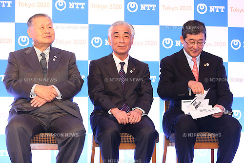 (L-R)<br />   Yoshiro Mori,<br />  Tsuyoshi Aoki,<br />  Yasushi Yamawaki,<br /> JANUARY 26, 2015 : <br /> NTT corporation has Press conference at Hotel Okura Tokyo.<br /> NTT corporation today announced that it has entered into a partnership agreement with the Tokyo Organising Committee of the Olympic and Paralympic Games.<br /> (Photo by Shingo Ito/AFLO SPORT)