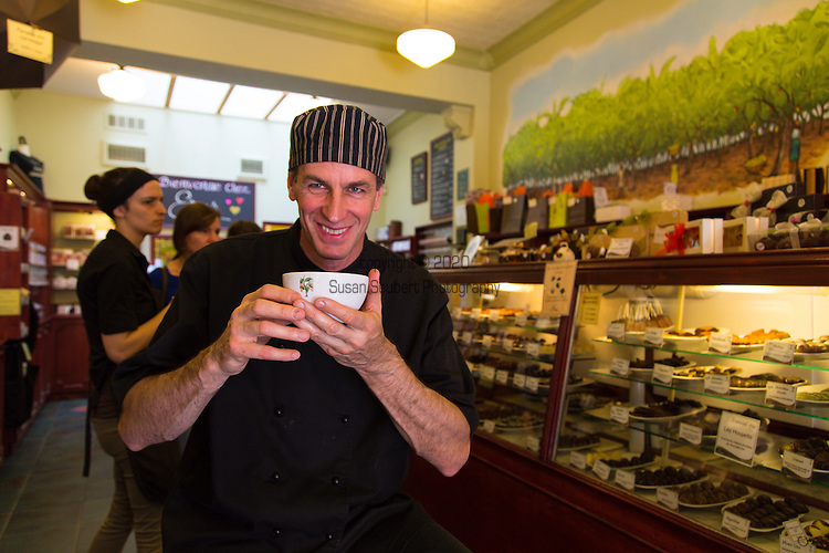 Owner and chocolatier Eric Normand savoring his Chocolat Chaud at Erico's Choco-Musée, located along St. Jean Street in Quebec City's St. Jean Baptiste neighborhood, boasts not only a small museum dedicated to understanding the culture and history of chocolate, but also has some of the best Chocolat Chaud (hot chocolate) in Quebec.  Erico also makes a selection of confections and ice cream.