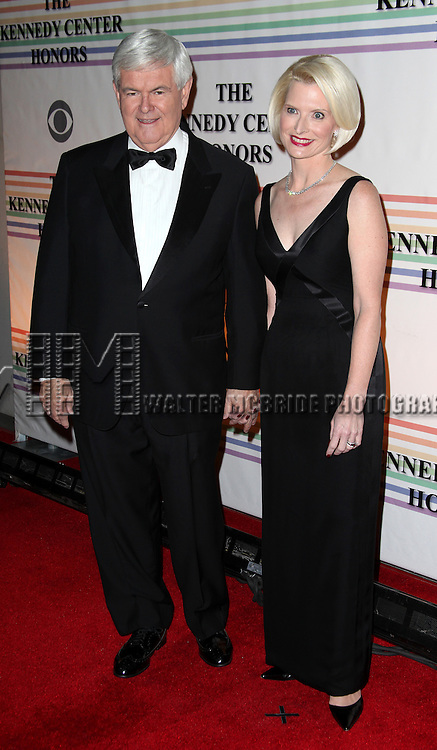 Newt & Marianne Gingrich.arriving for the 34th Kennedy Center Honors Presentation at Kennedy Center in Washington, D.C. on December 4, 2011