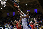 08 November 2014: Duke's Jahlil Okafor (15) shoot over Central Missouri's Sean O'Brien (30). The Duke University Blue Devils hosted the University of Central Missouri Mules at Cameron Indoor Stadium in Durham, North Carolina in an NCAA Men's Basketball exhibition game. Duke won the game 87-47.