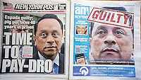 Front pages of the New York Post and AM New York on Tuesday, May 15, 2012 report on the conviction of Bronx politician Pedro Espada on corruption charges.  (© Richard B. Levine)