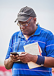 """3 March 2016: MLB.com beat reporter Bill """"The Rocket"""" Ladson checks his e-mail prior to a Spring Training pre-season game between the New York Mets and the Washington Nationals at Space Coast Stadium in Viera, Florida. The Nationals defeated the Mets 9-4 in Grapefruit League play. Mandatory Credit: Ed Wolfstein Photo *** RAW (NEF) Image File Available ***"""