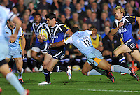 Dan Hipkiss goes on the attack. Aviva Premiership match, between Bath Rugby and Northampton Saints on September 14, 2012 at the Recreation Ground in Bath, England. Photo by: Patrick Khachfe / Onside Images