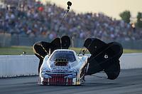 May 18, 2012; Topeka, KS, USA: NHRA top alcohol funny car driver Frank Manzo during qualifying for the Summer Nationals at Heartland Park Topeka. Mandatory Credit: Mark J. Rebilas-