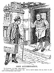"""Good Accommodation. The Traveller. """"Is this 'The Harp'?"""" The Host. """"'CROWN and Harp,' sir. But I don't think you'll find it any less comfortable for that.""""."""