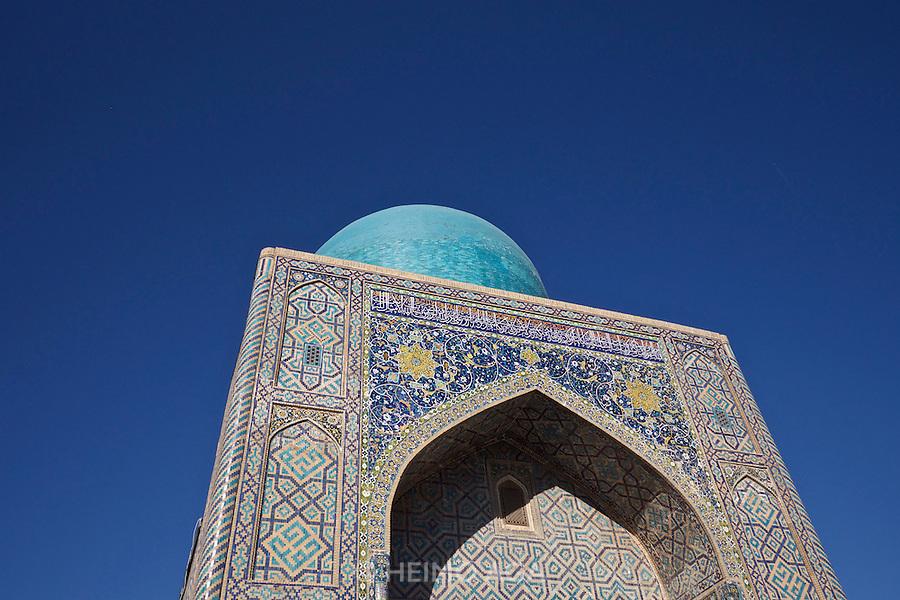 Uzbekistan, Samarqand.<br /> Registan ensemble.<br /> The Mosque of Tilla-Kari Medressa.