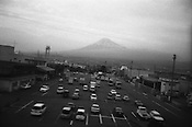 Mount Fuji, as seen from the window of a passing bullet train.