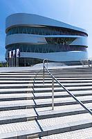 Exterior of Mercedes-Benz museum gallery in Mercedesstrasse in Stuttgart, Bavaria, Germany