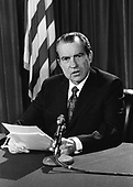 United States President Richard M. Nixon makes a national radio address from Washington, D.C. on February, 25, 1971 to report on the world situation as of that date.  The President said that the Vietnam war is slowly winding down as far as United States involvement is concerned.  Nixon also warned that the Middle East could be far more explosive than Vietnam because it involves all the major powers in the world.<br /> Credit: B.E. &quot;Gene&quot; Forte / CNP