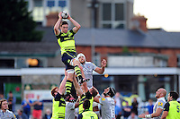 Josh Murphy of Leinster Rugby wins the ball at a lineout. Pre-season friendly match, between Leinster Rugby and Bath Rugby on August 26, 2016 at Donnybrook Stadium in Dublin, Republic of Ireland. Photo by: Patrick Khachfe / Onside Images