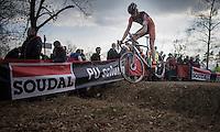 Rob Peeters (BEL/Sauzen Pauwels-Vastgoedservice) jumping the ditch<br /> <br /> men's race<br /> CX Soudal Classics Leuven/Belgium 2017