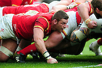 Dan Lydiate of Wales in action at a scrum. RBS Six Nations match between England and Wales on March 12, 2016 at Twickenham Stadium in London, England. Photo by: Patrick Khachfe / Onside Images