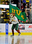 23 January 2009: University of Vermont Catamount mascot Rally Cat skates with the UVM flag prior to facing the University of Massachusetts Minutemen at Gutterson Fieldhouse in Burlington, Vermont.  The Catamounts defeated the visiting Minutemen 2-1. Mandatory Photo Credit: Ed Wolfstein Photo