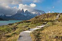 Walkway leading to viewpoint of the horns in the Torres del Paine National Park, Chile.