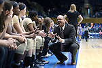 29 January 2017: Wake Forest assistant coach Mike Terry. The Duke University Blue Devils hosted the Old Dominion University Monarchs at Cameron Indoor Stadium in Durham, North Carolina in a 2016-17 Division I Women's Basketball game. Duke won the game 71-43.