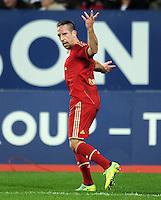 FUSSBALL   1. BUNDESLIGA  SAISON 2011/2012   12. Spieltag FC Augsburg - FC Bayern Muenchen         06.11.2011 Jubel nach dem Tor zum 0:2 Franck Ribery (FC Bayern Muenchen)