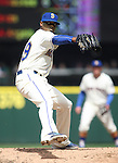Seattle Mariners' starter Roenis Elias pitches against the Minnesota Twins  April 26, 2015 at Safeco Field in Seattle.  The Twins beat the Mariners beat the Angels 4--2. ©2015. Jim Bryant photo. All RIGHTS RESERVED.