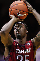 INDIANAPOLIS, IN - JANUARY 26: Quenton DeCosey #25 of the Temple Owls shoots a free throw during the game against the Butler Bulldogs at Hinkle Fieldhouse on January 26, 2013 in Indianapolis, Indiana. (Photo by Michael Hickey/Getty Images) *** Local Caption *** Quenton DeCosey