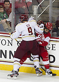 Brendan Silk (BC - 9), Alexx Privitera (BU - 6) - The Boston College Eagles defeated the visiting Boston University Terriers 5-2 on Saturday, December 1, 2012, at Kelley Rink in Conte Forum in Chestnut Hill, Massachusetts.