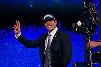The first overall pick quarterback Andrew Luck (Stanford) during the first round of the 2012 NFL Draft at Radio City Music Hall in New York, NY, on April 26, 2012.