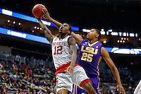 PITTSBURGH, PA - MARCH 19:  Jordan Mickey #25 of the LSU Tigers blocks Anthony Barber #12 of the North Carolina State Wolfpack during the second round of the 2015 NCAA Men's Basketball Tournament at Consol Energy Center on March 19, 2015 in Pittsburgh, Pennsylvania.  (Photo by Jared Wickerham/Getty Images)