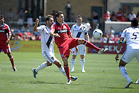 Chicago midfielder Marco Pappa (16) plays the ball in traffic.  The LA Galaxy defeated the Chicago Fire 2-0 at Toyota Park in Bridgeview, IL on July 8, 2012.