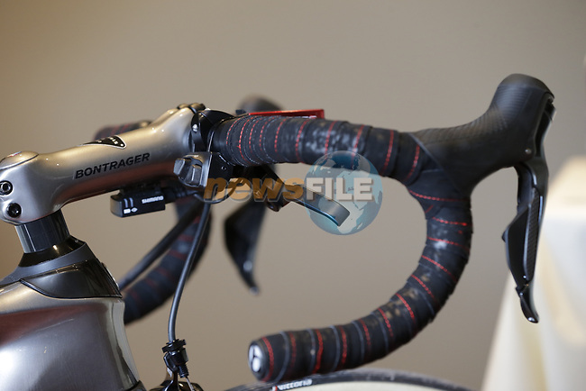 John Degenkolb's (GER) Trek-Segafredo uses cantilever brakes on his custom Trek Domane at a press conference the upcoming Paris-Roubaix race, Bruges, Flanders, Belgium. 7th April 2017.<br /> Picture: Eoin Clarke | Cyclefile<br /> <br /> <br /> All photos usage must carry mandatory copyright credit (&copy; Cyclefile | Eoin Clarke)