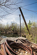 Wooden derrick at the abandoned Redstone Granite quarry in Conway, New Hampshire.