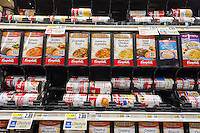 Campbell's Soup display in a supermarket in New York on Tuesday, November 10, 2015. The Campbell Soup Co. announced that it will alter the recipe of its soup products including the classic Chicken Noodle Soup removing ingredients that have fallen out of favor with consumers, such as MSG and vegetable oils. The new products will be released with Star Wars licensed labeling.  (© Richard B. Levine)