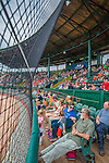 9 July 2015: A crowd of 3,266 baseball fans from local camps enjoy an afternoon ballgame between the Vermont Lake Monsters and the Mahoning Valley Scrappers at Centennial Field in Burlington, Vermont. The Lake Monsters rallied to tie the game 4-4 in the bottom of the 9th, but fell to the Scrappers 8-4 in 12 innings of NY Penn League play. Mandatory Credit: Ed Wolfstein Photo *** RAW Image File Available ****