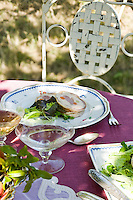 Detail of a summer lunch served in the vineyard of the  Ristorante Arquade near Verona