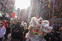 Tourists and New Yorkers of all races and nationalities crowd Chinatown in New York for Chinese New Year on Friday, January 31, 2014. The gala features dragon dancing troupes and other festivities ushering in the Year of the Horse, 4712 in the Lunar calendar. New York is deciding for the first time whether to decree Chinese New Year as a school holiday. The state requires schools to provide 180 days of instruction a year. On the Lunar New Year many Asian families do not send their children to school but take off the holiday to traditionally visit family and eating meals of auspicious foods.The city already suspends Alternate Side of the Street Parking. (© Richard B. Levine)