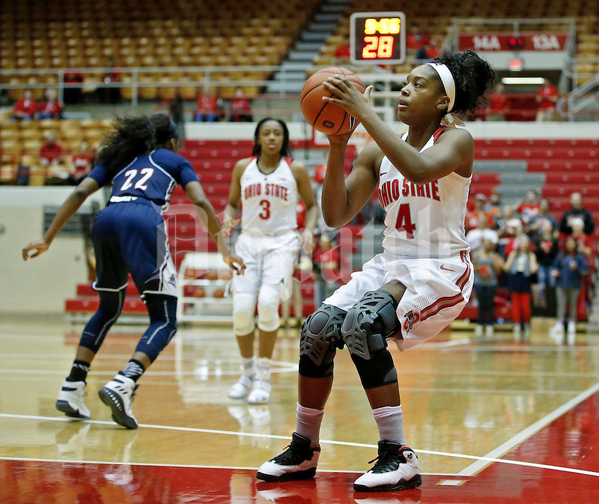 Sierra Calhoun (4) of the Ohio State Buckeyes looks for a shot during the Buckeyes' home opener against the Duquesne Lady Dukes at St. John Arena on Friday, November 11, 2016. Ohio State led 46-26 at halftime. (Barbara J. Perenic/The Columbus Dispatch)