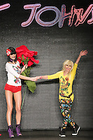 Fashion designer Betsey Johnson thanks audience for attending her Betsey Johnson Fall 2011 fashion show, during Mercedes-Benz Fashion Week Fall 2011.