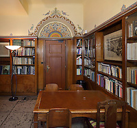 Library in the Fondation des Etudiants Armeniens, designed by Leon Nafilyan, 1877-1937, in Armenian style and inaugurated in 1930, in the Cite Internationale Universitaire de Paris, in the 14th arrondissement of Paris, France. The CIUP or Cite U was founded in 1925 after the First World War by Andre Honnorat and Emile Deutsch de la Meurthe to create a place of cooperation and peace amongst students and researchers from around the world. It consists of 5,800 rooms in 40 residences, accepting another 12,000 student residents each year. Picture by Manuel Cohen