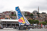 Extreme Sailing Series 2011. Act 3.Turkey . Istanbul.Red Bull Extreme Sailing skippered by Roman Hagara.with team mates Hans Peter Steinacher,Will Howden and Craig Monk.Credit Lloyd Images