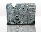 Picture & image of an Imperial Hittite orthostat dshowing a King & Queen before an altar from  Alacahöyük, Alaca Çorum Province,, Turkey. Ancora Archaeological Museum. Old Bronze age Chalcolithic Period. 3