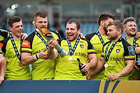 Fraser Balmain of Leicester Tigers celebrates with the Anglo-Welsh Cup trophy. Anglo-Welsh Cup Final, between Exeter Chiefs and Leicester Tigers on March 19, 2017 at the Twickenham Stoop in London, England. Photo by: Patrick Khachfe / JMP
