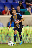 Michael Farfan (21) of the Philadelphia Union. The New York Red Bulls and the Philadelphia Union played to a 0-0 tie during a Major League Soccer (MLS) match at Red Bull Arena in Harrison, NJ, on August 17, 2013.